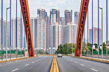 Empty road on the bridge. Shenzhen. China.