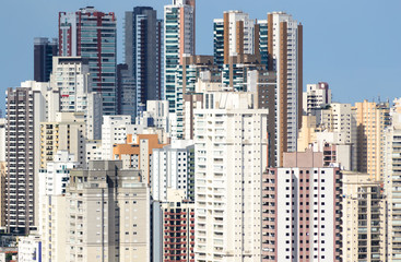 Detail of the dense cityscape of Sao Paulo, Brazil. Many residential towers create a colorful pattern typical of big cities
