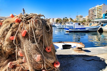 Fishing nets background in the port
