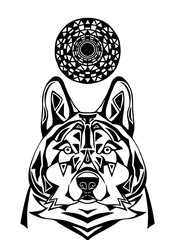 Ornament wolf on white background. Patterned art of severe wolf.