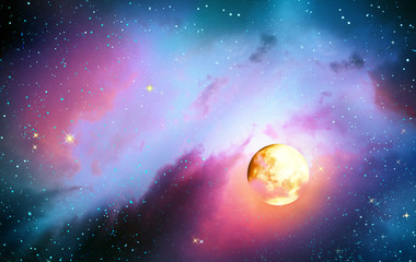 Full moon with stars at colorful night sky .