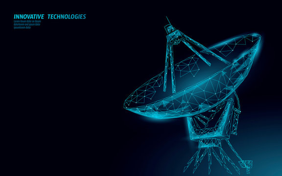 Polygonal radar antenna space defence abstract technology concept. Scanning detect military danger maneuver wireframe mesh 3D warfare. Satellite weapon aiming vector illustration