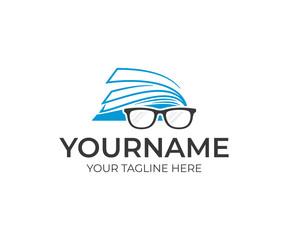 Open book and glasses logo design. Education vector design. Reading book logotype