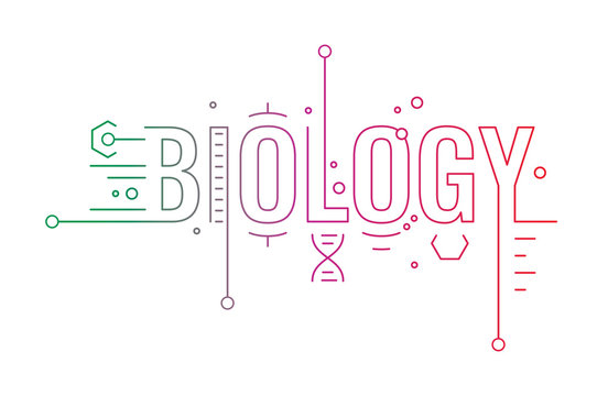 biology word concept, biology word infographic colored illustration