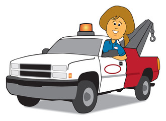 Service Woman and Tow Truck