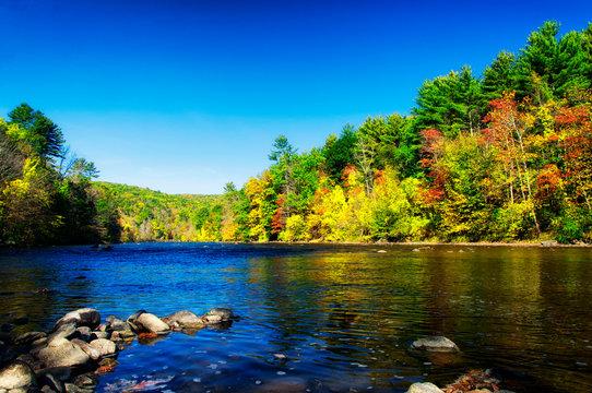 Housatonic River in Cornwall Bridge Connecticut Autumn