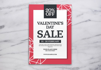 Valentine's Day Sale Flyer Layout with Red Accents