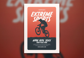 Extreme Sports Flyer Layout with Illustration of a Biker