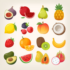 Set of exotic and common fruit icons. Collection of colorful vector images.