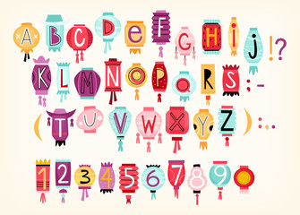 Colorful cartoon vector alphabet with letters and numbers drawn on Chinese paper lanterns. Suitable for creating titles for invitations, greeting posters and cards