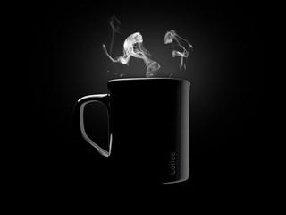 Black ceramic coffee mug. Isolated on a black.