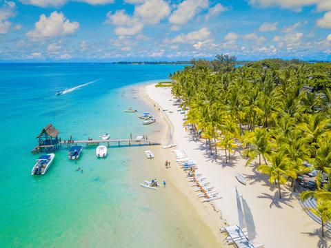 Aerial view of beautiful beach in Trou aux Biches, Mauritius.