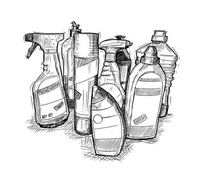 Artistic pen and ink hand drawing illustration of house cleaning products.