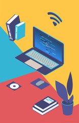 Cartoon laptop, WiFi, book, disc, flower of elements for design vector isometric illustration. Colour background.