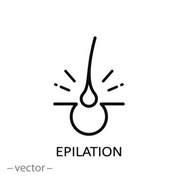 epilation icon, linear sign on white background - vector illustration eps10