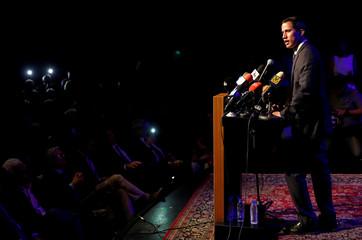 Venezuelan opposition leader Juan Guaido meets with business leaders in Caracas