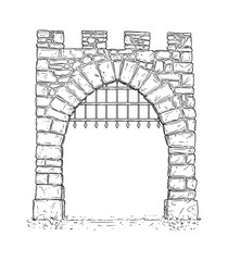 Cartoon doodle drawing illustration of open medieval stone decision gate with iron bars .