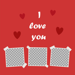 I love you, Cute poster with space for your text and the words I love you on a background of hearts. Cover for photo album or photo frame. Vector cartoon close-up illustration. I love you on. vector