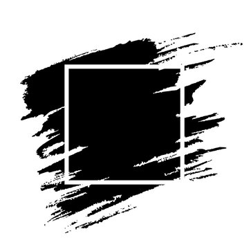 Black paint brushstroke grunge texture. White frame on grunge background. Social media post cover with copyspace layout. Ink brush isolated clipart. Greeting card, poster, web banner design template