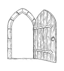 Cartoon doodle drawing illustration of open medieval wooden decision door.