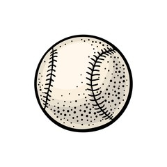 Baseball ball. Vector color engraving illustration. Isolated on white background.