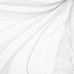 Monochrome striped openwork background. Vector abstract pleated network. Gray ripple thin lines, subtle curves. Technology line art pattern, textile, net, mesh textured effect. EPS10 illustration