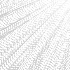 Gray striped openwork background. Vector abstract pleated network. Technology ripple thin lines, subtle curves. Monochrome line art pattern, textile, net, mesh textured effect. EPS10 illustration