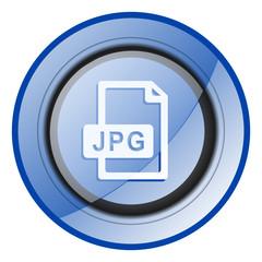 Jpg file round blue glossy web design icon isolated on white background.