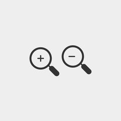 Zoom in zoom out vector icon magnifying glass