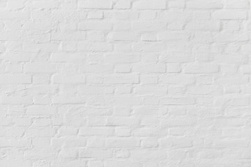 Vintage white brick wall background, Flat background photo texture, Old brick wall painted on white