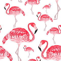 Canvas Prints Vector illustration seamless pattern - pink flamingo with red feathers standing on one leg. Template for the design of fabrics or wallpapers.