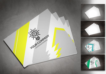 Fanned Business Cards Mockup