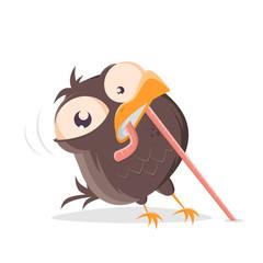 funny cartoon bird pulling a worm