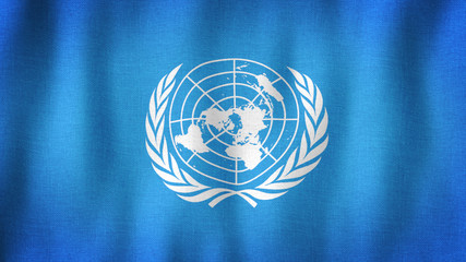 UN flag waving in the wind. Closeup of realistic United Nations flag with highly detailed fabric texture