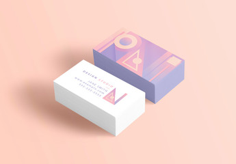 Business Card Layout with Pastel Geometric Patterns