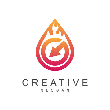 arrow letter g with fire, logo template ready for use