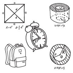 Set of school equipment doodle icons