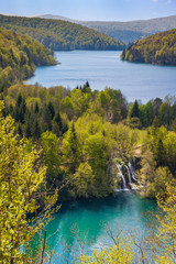 Beautiful cascading lakes and green forests, Plitvice Lakes National Park, Croatia