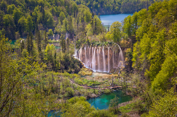 Scenic view of the lovely Veliki Prstavac Waterfall in the heart of upper lakes, Plitvice Lakes National Park, Croatia