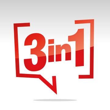 3 in 1 in brackets speech red white isolated sticker icon