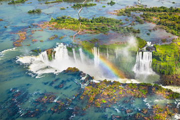 Beautiful aerial view of Iguazu Falls from the helicopter ride, one of the Seven Natural Wonders of the World - Foz do Iguaçu, Brazil Fototapete