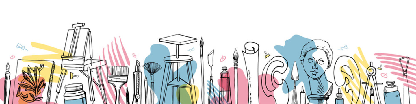 Vector artist materials in a row - hand drawn sketch. Stylized illustration with color stamps. Painting and drawing tools. Table, easel, tubes, brushes, models, pens, paints, rulers, compass