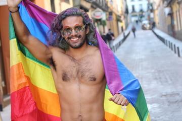 Gay man celebrating diversity with pride