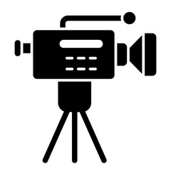 Movie camera on a tripod solid icon. Cinema cam vector illustration isolated on white. Reportage camera glyph style design, designed for web and app. Eps 10.