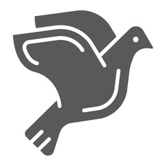 Dove glyph icon, animal and bird, pigeon sign, vector graphics, a solid pattern on a white background.