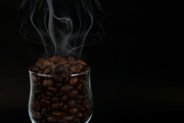 coffee smoke on the back background