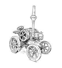 Fototapete - Artistic digital pen and ink drawing of old tractor. Tractor was made in Germany in 1923 or 20's.
