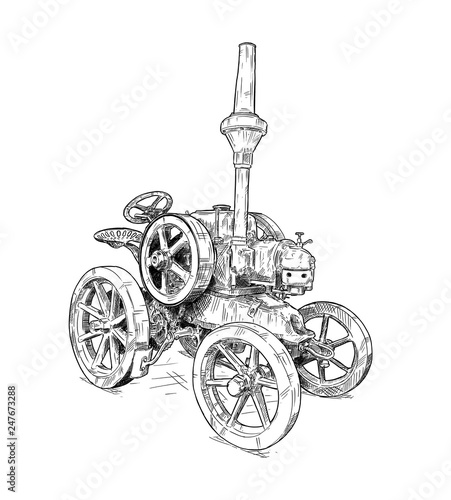 Wall mural Artistic digital pen and ink drawing of old tractor. Tractor was made in Germany in 1923 or 20's.