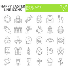 Happy easter thin line icon set, holiday symbols collection, vector sketches, logo illustrations, celebration signs linear pictograms package isolated on white background.
