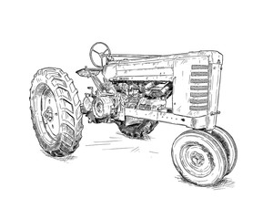 Fototapete - Artistic digital pen and ink drawing of old tractor. Tractor was made in Iowa, USA or US between 1934 and 1952 or 30's, 40's , 50's.